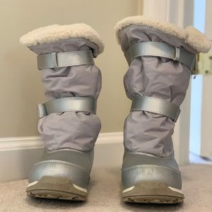 Lands' End silver fuzzy and warm snow boots